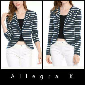 Allegra K Women Long Sleeve Stripe Blazer Cardigan